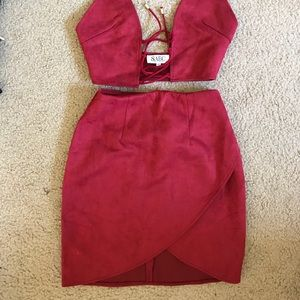 Suede and burgundy 2 piece set from Sabo Skirt